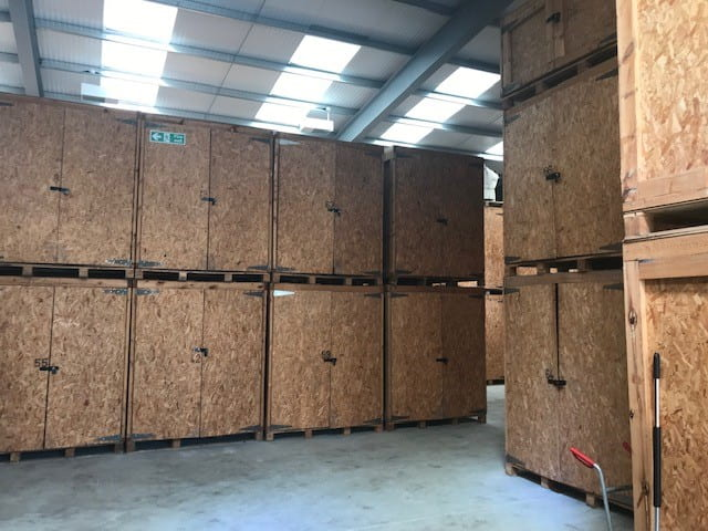 wooden self storage containers in badger hire facility